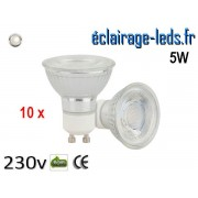 Lot de 10 Ampoules led GU10 5w COB blanc naturel 4000K 230v AC ref a110-02