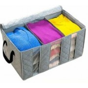 Fonicy Easy Carry Bamboo Charcoal Practical Foldable Clothing Storage Bag Box Clothes Closet Organizer 65L 3 Slot Bamboo Storage Bag(Grey)