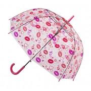 Blooming Brollies Umbrelă transparentă cu tijă pentru femei Clear Dome Stick With A Lips Design POESLIP