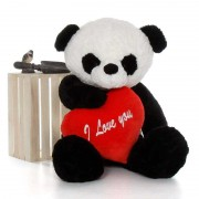 Giant 4 Feet Tian Panda Teddy Bear Soft Toy with Big I Love You Heart