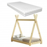[en.casa] Dětská postel AAKB-8671M 70x140 cm borovice