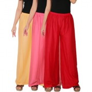 Culture the Dignity Women's Rayon Solid Palazzo Pants Palazzo Trousers Combo of 3 - Cream - Baby Pink - Red - C_RPZ_CP2R - Pack of 3 - Free Size