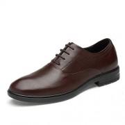 XIANGBAO-Personality -Personalidad Zapatos Solos para Hombres Zapatos de Hombre de Negocios Oxford Casual, clásico, clásico, de Color sólido, Formales (Slip On Opcional) (Color : Marrón, tamaño : 26.5)