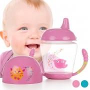 Biberon de invatare, faza 2, cu toarte si tetina rigida, Kiokids, +9 luni, 210 ml, fara BPA, Roz