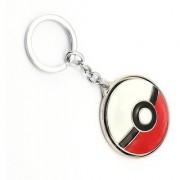 Optimus traders Pokemon Go Poke Ball Rotatable 3D metal Games Souvenir Key Chain(red white)