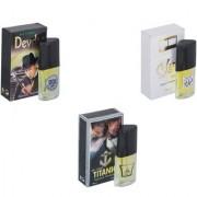 Skyedventures Set of 3 Devdas-Silent Love-Titanic Perfume