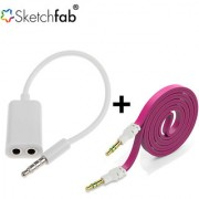 Sketchfab Combo of 35Mm Audio Stereo Splitter Cable Flat Aux Stereo 35mm Music Transfer Cable for Mobiles Speaker - Assorted Color