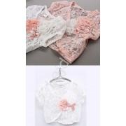 Lejdi Białe koronkowe bolerko dla dziewczynki z różowym kwiatem bolerka dziecięce