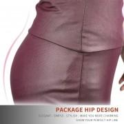 EH Mujeres Lady Estiramiento Alta Cintura Lápiz Falda Rodilla-longitud Vestido Sexy Vestido Envuelto XL - Vino Rojo
