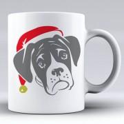 Boxer Dog with Santa Hat Ceramic Mug