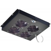 """Gruppo di ventilazione a soffitto per Rack 19"""" 4 Ventole Nero"""