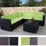 Poly-Rattan Sofa-Garnitur ROM Basic, Sitzgruppe Lounge-Set, Alu ~ Variantenangebot