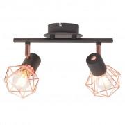 vidaXL fekete és sárgaréz mennyezeti lámpa 2 spotlámpával E14