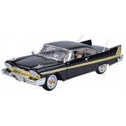 Motormax 1:18 1958 Plymouth Fury Diecast Car (Timeless Classics Collection) Mounted On A Plastic Stand and with the Name Lable (Black)