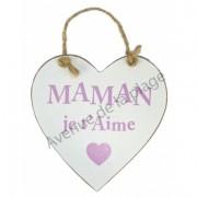 """Coeur en bois """"Maman je t'Aime"""" à accrocher"""