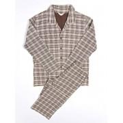 Hom Хлопковая мужская пижама коричневого цвета в клетку HOM Steed 04259cT5