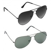 HRINKAR Men's Grey Mirrored Aviator Sunglasses