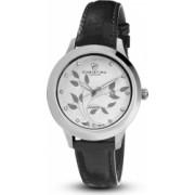 Ceas de dama Swiss Made Auriu cu negru Cadran alb 1 diamant si 11 safire curea din piele naturala neagra Christina Watches Collect