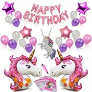 Silverdel Pink Unicorn Party Supplies For Girls Birthday Decorations- Rainbow Necklace, 2 Huge Unicorns, 4 Foil And 18 Pearl Latex Balloons, Happy Banner, Air Pump & 20 Bags