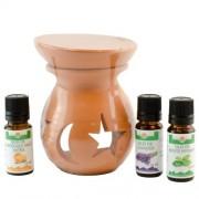 Candelă de aromaterapie și 3 sticlute de ulei esențial 10 ml: Mentă, Portocale dulci și Lavandă