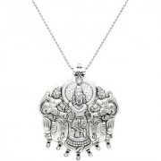 MissMister Silver plated Lord Krishna with Gopi's Big and Unique Pictoral Religious God Pendant with Chain Locket necklace Temple Jewellery for Men & Women