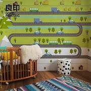 LHFLHI Papel Pintado Pintado A Mano De Dibujos Animados Papel Pintado Infantil Habitación Infantil Tela De Pared Sin Costuras-150 * 105Cm