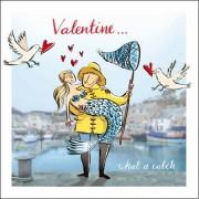 valentijnskaart woodmansterne - valentine what a catch - zeemeermin