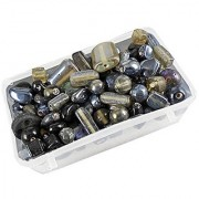 eshoppee black-grey color glass beads 100 gm 5-15mm approx 120 pcs for jewellery art and craft making diy kit