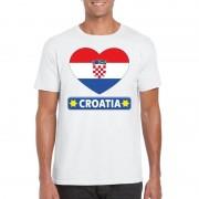 Bellatio Decorations I love Kroatie t-shirt wit heren S - Feestshirts