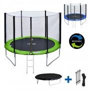 Happy Garden Pack Premium Trampoline 305cm réversible vert / bleu ADELAÏDE + filet, échelle, bâche et kit d'ancrage