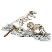 Glow In The Dark Dinosaur Excavation Kit, 2-in-1 Triceratops & T-Rex Fossils, Innovative Archaeology Kit for Kids Ages 7 and Up