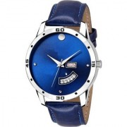 True Colors ALK113 New Generation Blue Dial Blue leather strap day and date function wrist Watch - For Men