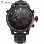 Requiem Shark Sport Watch 6 Hands Calendar Dual Time Zone Black Dashboard Leather Band 3ATM Waterproof Men Military Clock /SH210