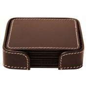 Glasunderlägg Orskov Square Brown Leather 6 st – utan gravyr