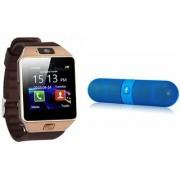 Zemini DZ09 Smartwatch and Facebook Pill Bluetooth Speaker for SAMSUNG GALAXY TREND LITE(DZ09 Smart Watch With 4G Sim Card Memory Card| Facebook Pill Bluetooth Speaker)