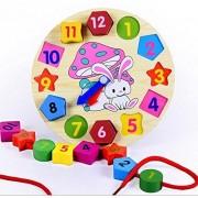 Elloapic Wooden Rabbit Childrens Teaching Clocks Time Learning Wooden Shape Sorting Shape Matching Clock