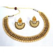 Golden Double Stone Tilak Necklace Set