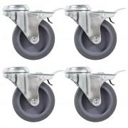 vidaXL 8 pcs Roulettes pivotantes à trou de boulon 75 mm