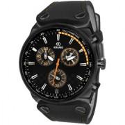 Adamo Black Leather Round Analog Watch for Men