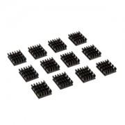 Set 12 radiatoare memorii VGA Watercool 16x13x5mm, aluminiu anodizat, benzi adezive incluse, culoare neagra