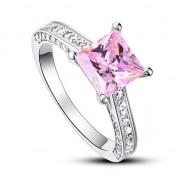 Inel Borealy Argint 925 Simulated Diamond 1.5 Carat Princess Cut Fancy Pink Marimea 6