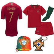 Portugal World Cup 2018 18 Kid Youth Replica C. Ronaldo Jersey Kit : Shirt, Short, Socks, Bag, PVC Key (C. Ronaldo, Size 24 (7-8 Yrs Old Approx.))