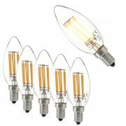 [lux.pro]® Set de 5 bombillas LED E14 de filamento blanco cálido 2700K luz 500lm 5W vela