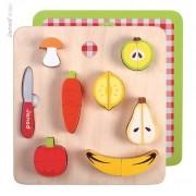 JANOD Warzywa i owoce zestaw do krojenia dla dzieci - drewniany, magnetyczny,