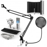 MIC-900S-LED USB Conjunto Microfone V5 Mic Condensador Filtro Pop Escudo Suporte Prateado