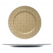 Bellatio Decorations 2x Ronde kerstdiner/diner onderborden goud met motief 33 cm