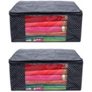 HOMMBAY Black Dots (Set of 2) Saree Cover/Bag/Wardrobe Organizer in Non Wooven Material With Transparent Window Wardrobe Organizers(Black)