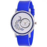 Glory Blue New Style Peacock Dial Fancy Collection PU Analog Watch - For Women By Prushti