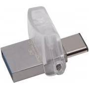 Stick USB Kingston DataTraveler microDuo 3C, USB 3.1, USB Type-C, 64GB (Culoare metalica)
