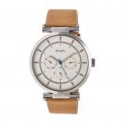 Simplify The 4800 Leather-Band Watch w/Day/Date - Silver/Silver/Khaki SIM4805